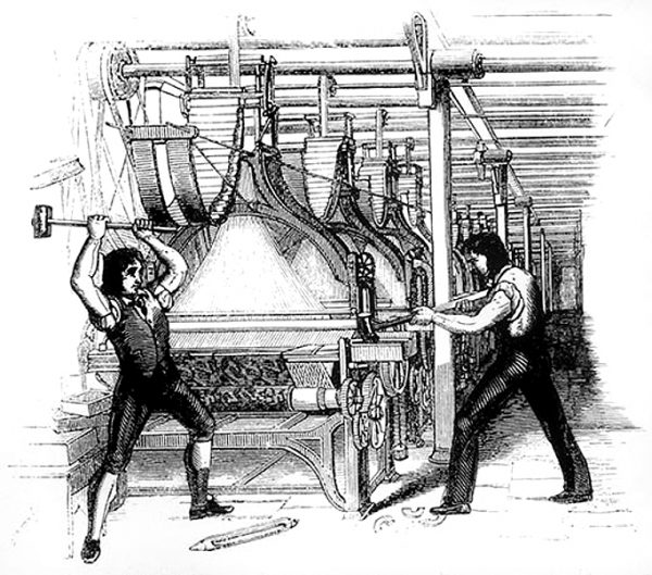 Frame-breakers, or Luddites, smashing a loom in 1812.