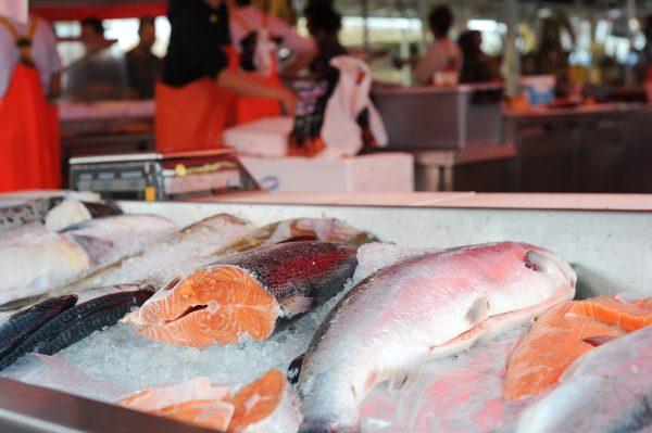 Fiskermarked Bergen, laks.