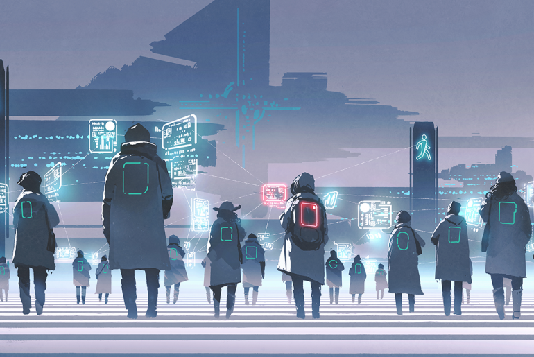 Fremtidsby med mennesker