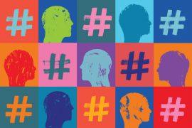 Ansikter og hashtags.