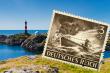 Landskap og frimerke med ubåt