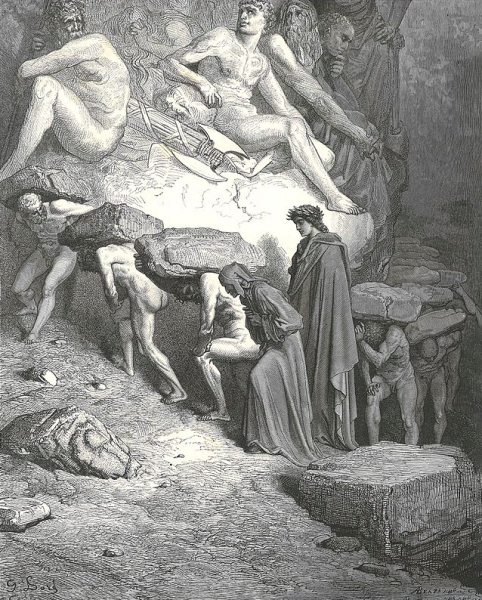 Dante in Purgatory, from the Divine Comedy, illustrated by Dore. Scientists carrying the burden of publishing metrics behind Dante.