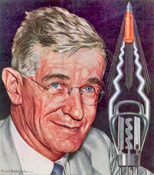WEB-Vannevar Bush skrev en rapport til president Roosevelt som skulle sette spor etter seg i forsklningspolitikken (Tegning fra forside til magasinet Times 1944 av Ernest Hamlin Baker)